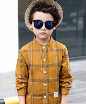 新款6男童秋装衬衫8儿童圆领长袖上衣10岁大童格子衬衣韩版