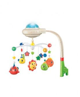 婴儿玩具 声光新生儿安抚旋转摇铃夜灯投影满天星床铃