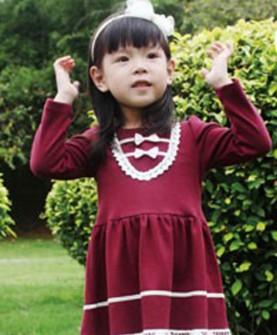 女童气质正红色长袖短裙