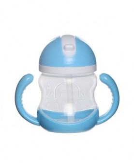 带手柄软吸管婴儿吸管杯宝宝训练杯儿童喝水杯 240ml