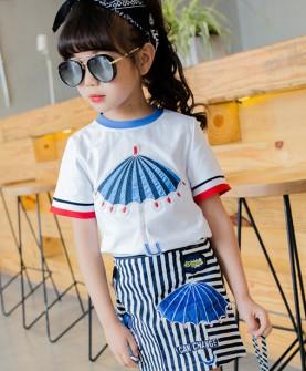 新款韩版夏装儿童小伞短袖+半身裙两件套