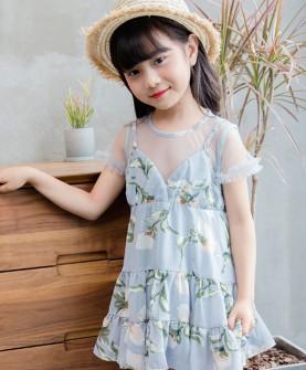 女童连衣裙吊带假两件