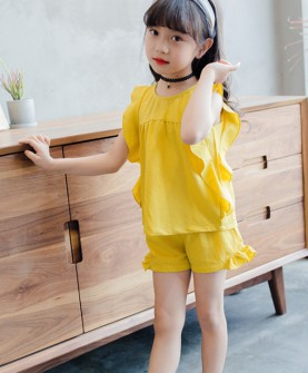 女童无袖套装2017新款韩版时尚木耳边背心短裤