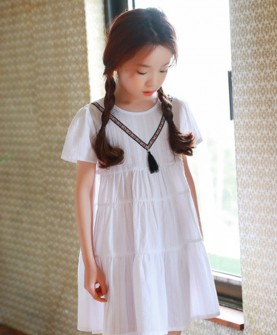 度假小女孩儿童纯棉短袖连衣裙女童夏装