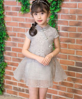 2017新童装短袖植绒夏装旗袍裙子