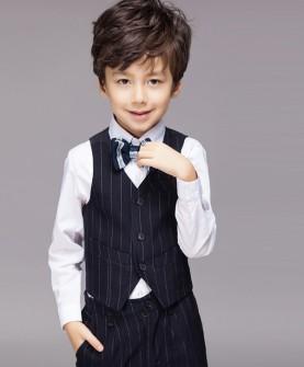 儿童礼服男童小孩西装马甲套装
