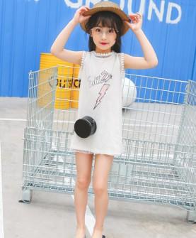 女童丅恤夏装短袖中长款t恤