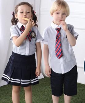 英伦风中小学生校服套装短袖男女童装