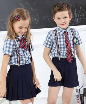 幼儿园园服夏装英伦风短袖格子套装