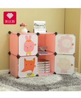 儿童书架卡通简约现代柜子自由组合塑料收纳储物柜简易书柜