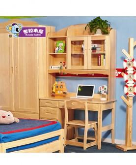 学生实木书桌带书架书柜组合松木电脑桌