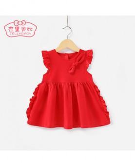 女童红色连衣裙3-4-5