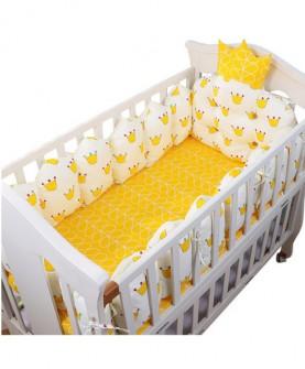 床围 婴儿床品婴儿床五件套纯棉可拆洗羽丝绒皇冠床围床上用品套