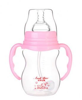 奶瓶宽口防摔带吸管手柄新生儿宝宝宽口径塑料喝水奶嘴瓶