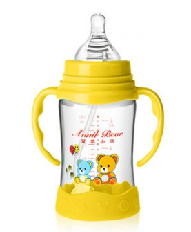 婴儿玻璃奶瓶防摔硅胶手柄吸管配件新生儿宝宝用品宽口径