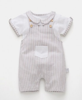 女婴儿男宝宝套装背带裤子两件套外出服6纯棉春秋1夏季0周岁3个月