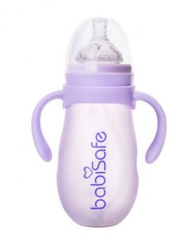 婴幼儿宽口奶瓶硅胶防护玻璃吸管奶瓶儿童萌心奶瓶