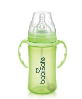 宽口奶瓶吸管防胀气安全玻璃奶瓶婴儿防爆宽口奶瓶240ml