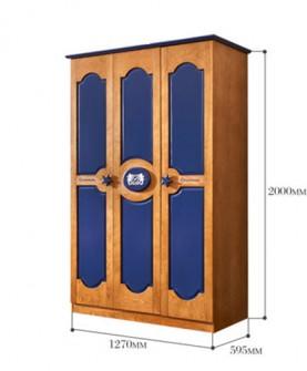 家具 美式实木大衣柜 地中海儿童储物柜 简约实木三门衣橱