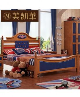 家具 地中海实木床乡村 蓝色男孩儿童床 1.2米简约橡木床