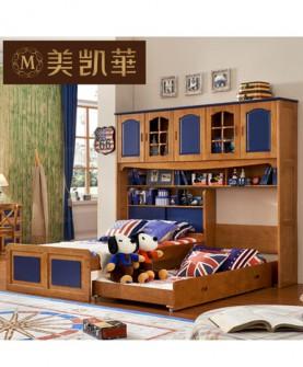 家具 美式实木儿童床带书架多功能套装 地中海男孩单人床