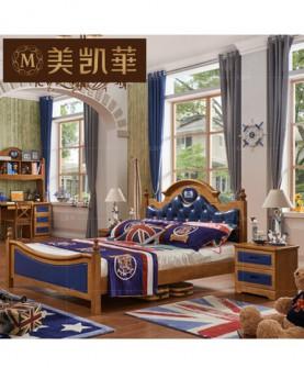家具 地中海男孩女孩实木床美式儿童床卧室1.2米1.5单人床