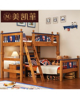 家具 儿童套房上下床组合 地中海实木儿童床美式双层子母床