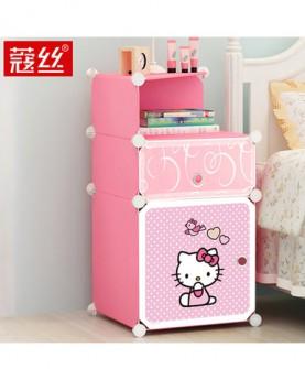 床头柜收纳塑料衣柜小柜子简易迷你储物柜简约现代组装仿实木