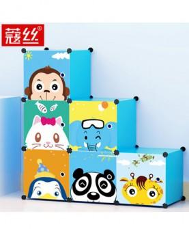 儿童书架塑料自由组合储物格子柜子简易卡通小书柜收纳柜书橱