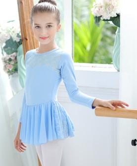 舞蹈服装儿童练功服女孩长袖考级舞蹈服芭蕾舞裙春季新款棉