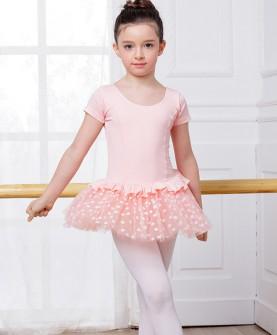 儿童舞蹈服装考级练功服女童舞蹈裙春短袖连体服儿童舞蹈裙蓬蓬裙