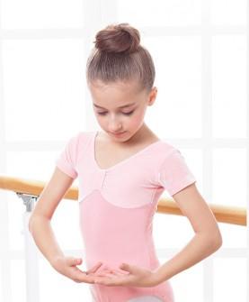 女童舞蹈服装夏季短袖芭蕾舞儿童舞蹈练功服丝绒体操连体形体服