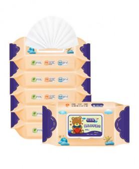 婴儿湿巾纸 手口湿巾湿纸巾宝宝新生儿80抽5包