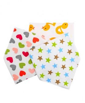 婴儿口水巾宝宝三角巾婴儿童围嘴纯棉春夏按扣新生儿三角巾扣围巾