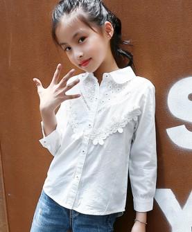 2017秋季女童花边长袖衬衫