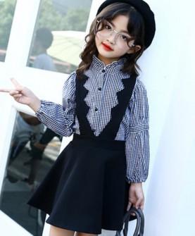 2017新款韩版中大童格子衬衫裙子两件套