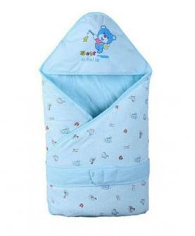 纯棉加厚款抱被-蓝色花纹