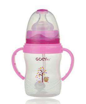180ml宽口pp奶瓶粉色