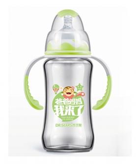 宽口径握把吸管玻璃奶瓶