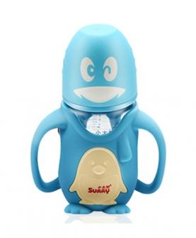 可爱企鹅宽口径防摔玻璃奶瓶260ml
