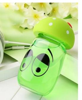 创意防爆玻璃水杯蘑菇盖大肚杯耐热绿色