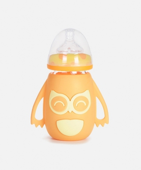 猫头鹰硅胶套玻璃奶瓶