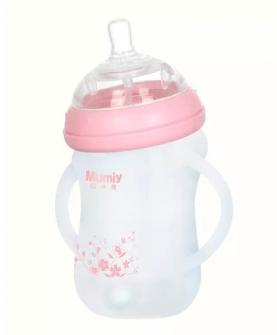 有柄自动广口硅胶玻璃弯头奶瓶
