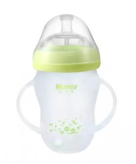 有柄自动广口硅胶玻璃奶瓶