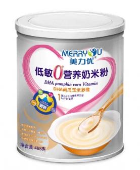美力优DHA南瓜玉米多维听装低敏0°营养奶米粉1段