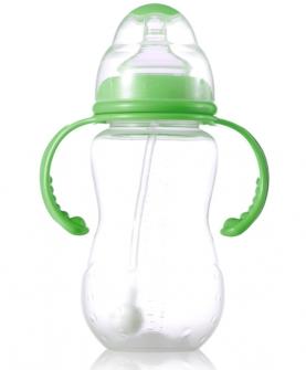 330毫升PP全自动双柄标口梅花奶瓶绿色