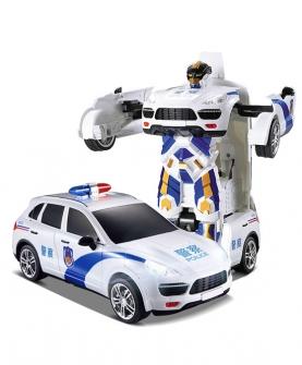 遥控车警车声控变形车