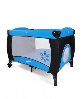 蓝黑婴儿游戏床