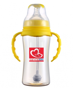 PPSU宽口带手柄自动吸奶瓶