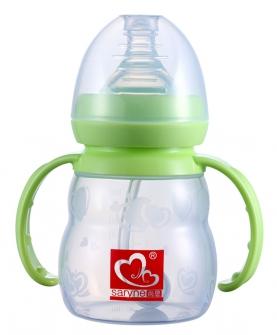 标准口径硅胶带手柄自动吸奶瓶